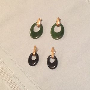 Jewelry - Jade & Onyx 10kGold interchangeable earrings pre❤️